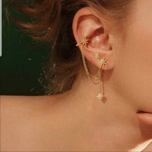 Star dangling stud and ear cuff